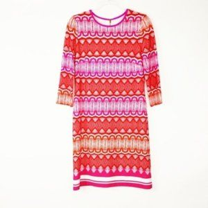 Eliza J | 4 | Pink Red 3/4 Sleeve Shift Dress